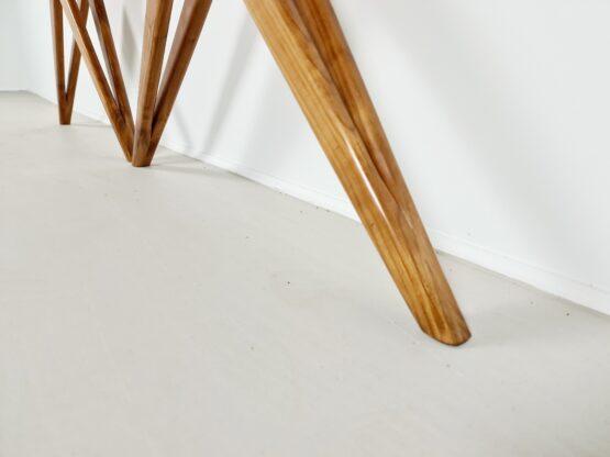 wood, opal glass console