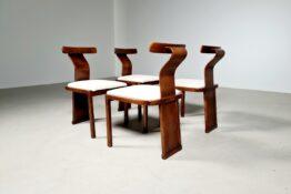 Italian vintage walnut dining chairs